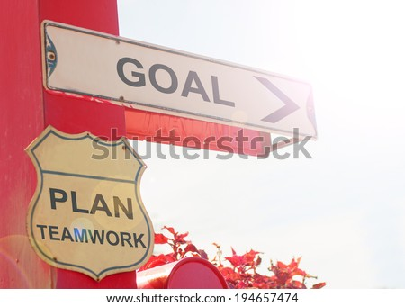 Business Concept By Old Street Sign With Goal - stock photo