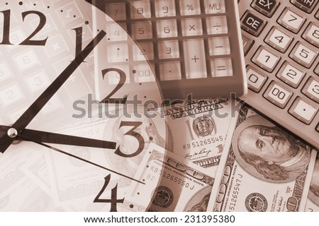 Business concept, calculators on money background