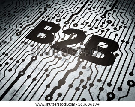 Business concept: circuit board with  word B2b, 3d render - stock photo