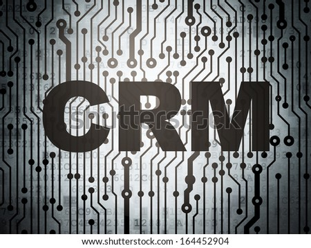 Business concept: circuit board with  word CRM, 3d render - stock photo
