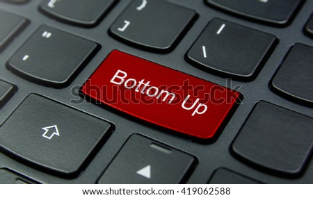 Business Concept: Close-up the Bottom Up button on the keyboard and have Red color button isolate black keyboard - stock photo