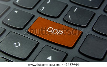 Business Concept: Close-up the GDP (Gross Domestic Product) button on the keyboard and have Orange color button isolate black keyboard
