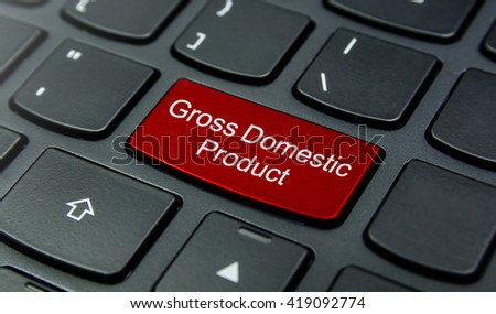Business Concept: Close-up the Gross Domestic Product button on the keyboard and have Red color button isolate black keyboard - stock photo
