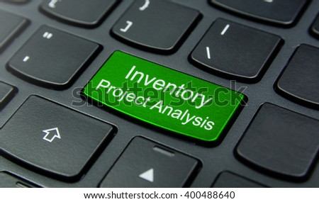 Business Concept: Close-up the Inventory Project Analysis button on the keyboard and have Lime, Green color button isolate black keyboard - stock photo