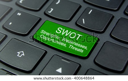 Business Concept: Close-up the SWOT Strengths, Weaknesses, Opportunities, Threats button on the keyboard and have Lime, Green color button isolate black keyboard - stock photo