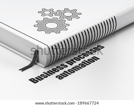 Business concept: closed book with Black Gears icon and text Business Processes Automation on floor, white background, 3d render - stock photo