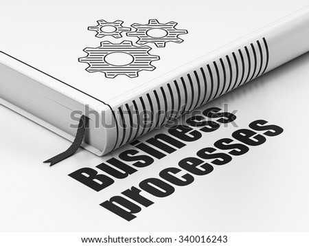 Business concept: closed book with Black Gears icon and text Business Processes on floor, white background, 3d render