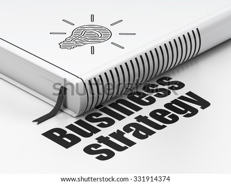 Business concept: closed book with Black Light Bulb icon and text Business Strategy on floor, white background, 3d render