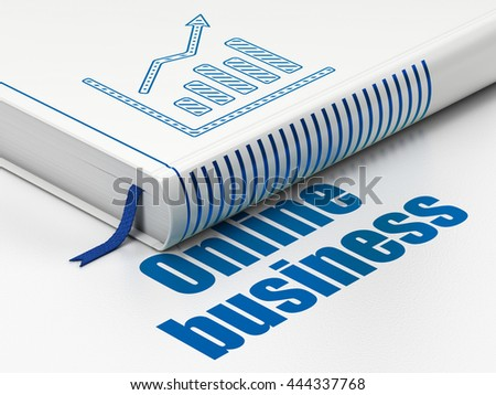 Business concept: closed book with Blue Growth Graph icon and text Online Business on floor, white background, 3D rendering