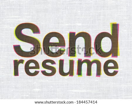 Business concept: CMYK Send Resume on linen fabric texture background, 3d render