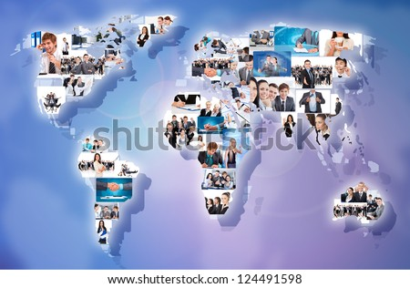 business concept collage businesspeople world map. International people portrait communication