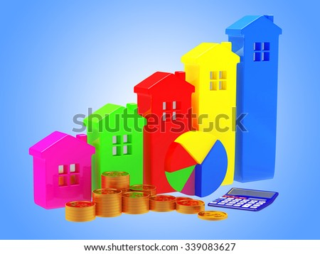 Business concept. Colorful houses in the form of a graphs, pie chart, calculator and stacks of coins on blue background