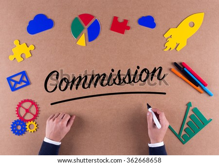 Business Concept-Commission word with colorful icons