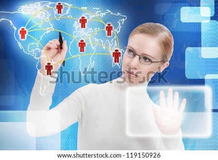 business concept. communication, link, connection people of the future on the map around the world