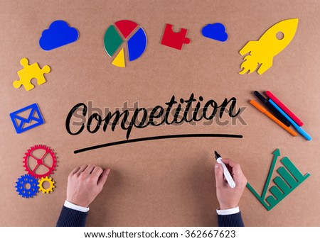 Business Concept-Competition word with colorful icons