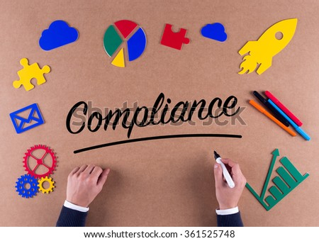 Business Concept-COMPLIANCE word with colorful icons