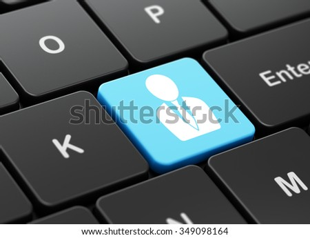 Business concept: computer keyboard with Business Man icon on enter button background, 3d render