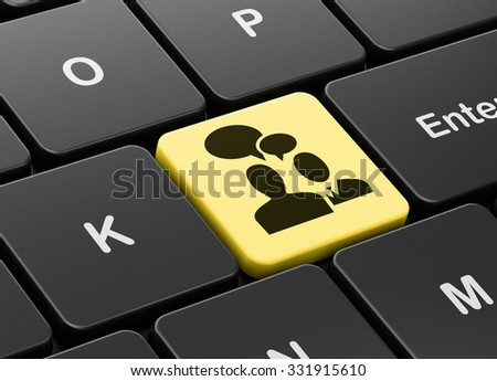 Business concept: computer keyboard with Business Meeting icon on enter button background, 3d render - stock photo