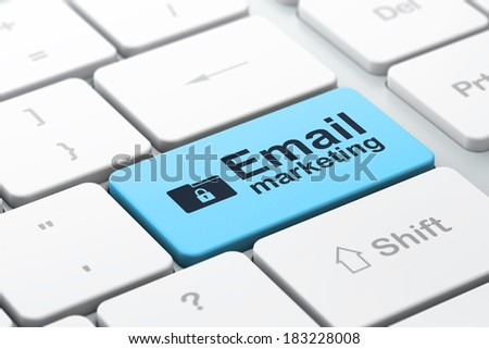 Business concept: computer keyboard with Folder With Lock icon and word Email Marketing, selected focus on enter button, 3d render - stock photo