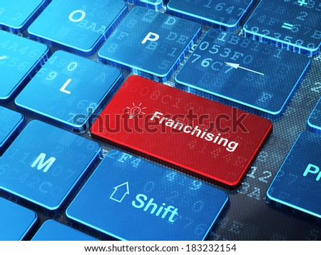 Business concept: computer keyboard with Light Bulb icon and word Franchising on enter button background, 3d render - stock photo