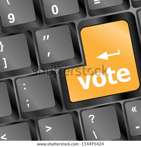 business concept - computer keyboard with vote key. raster - stock photo