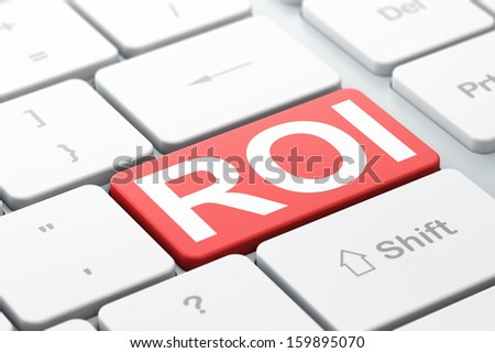 Business concept: computer keyboard with word ROI, selected focus on enter button background, 3d render - stock photo