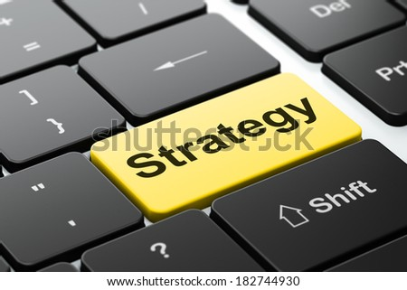 Business concept: computer keyboard with word Strategy, selected focus on enter button background, 3d render - stock photo