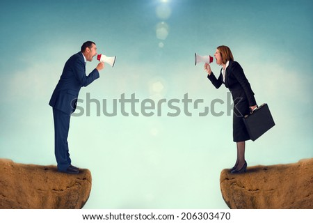 business concept conflict megaphone businessman and businesswoman