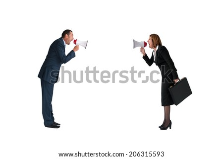 business concept conflict megaphone businessman and businesswoman isolated on white