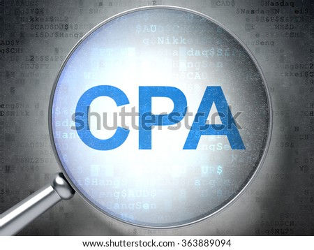 Business concept: CPA with optical glass - stock photo