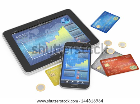 business concept:credit cards and mobile devices