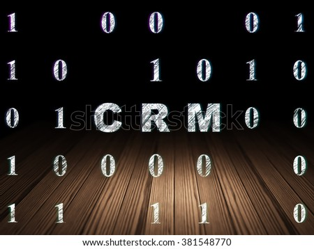 Business concept: CRM in grunge dark room - stock photo