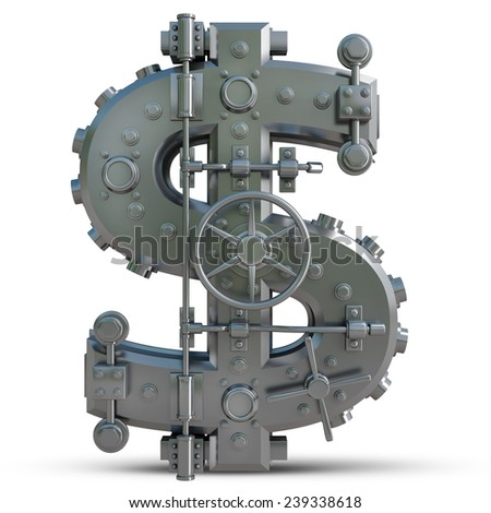 Business concept. currency dollar symbol and banking safe  isolated on white background. High resolution 3d