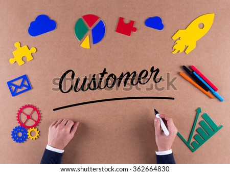 Business Concept-Customer word with colorful icons - stock photo