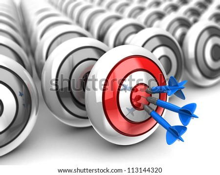 Business concept: darts in bullseye with dartboards on behind - stock photo