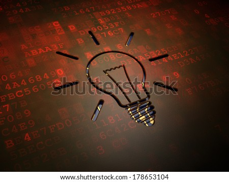Business concept: digital screen with icon Light Bulb, 3d render - stock photo