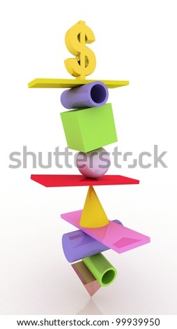 Business concept, dollar 3D images - stock photo