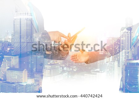 Business concept, double exposure of businessman with city