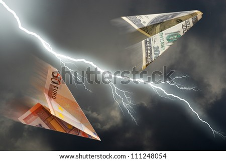 business concept. euro and dollar plane and  thunderstorm - stock photo