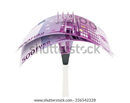 Business concept - 500 euro banknote and fork isolated over white background. - stock photo