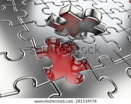 Business concept - final piece of jigsaw puzzle.  High resolution 3d image. - stock photo