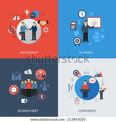 Business concept flat icons set of meeting partnership planning conference infographic design elements  illustration - stock photo