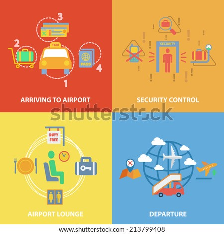Business concept flat icons set with airport composition set of arriving security control lounge departure infographic design infographic design elements  illustration - stock photo