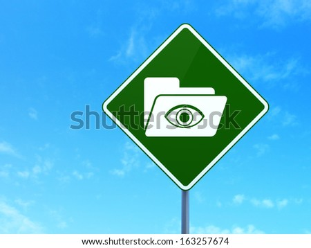 Business concept: Folder With Eye on green road (highway) sign, clear blue sky background, 3d render
