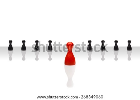 Business concept for leader team, leadership, step forward. Line some small black pawn figures, one red in front, gradient surface. Isolated on white background. Copy space, room for text. - stock photo