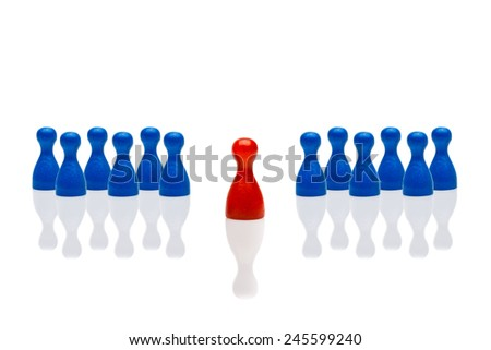 Business concept for leadership team, leadership, step forward. Multiple blue pawn figures, red one in front. Isolated on white background. Copy space, room for text. - stock photo