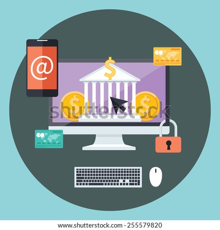 Business concept for online banking, finance investment, security deposit, deposit interest with laptops, safe and shield in flat design. Raster version - stock photo