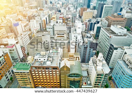 Business concept for real estate and corporate construction - panoramic modern city skyline bird eye aerial view under dramatic sunrise and morning blue sky on Nagoya TV Tower in Nagoya, Japan