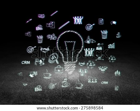 Business concept: Glowing Light Bulb icon in grunge dark room with Dirty Floor, black background with  Hand Drawn Business Icons, 3d render - stock photo