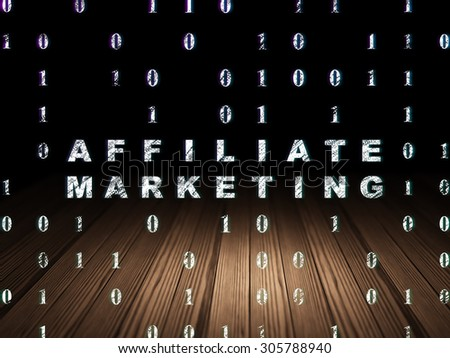 Business concept: Glowing text Affiliate Marketing in grunge dark room with Wooden Floor, black background with Binary Code, 3d render - stock photo